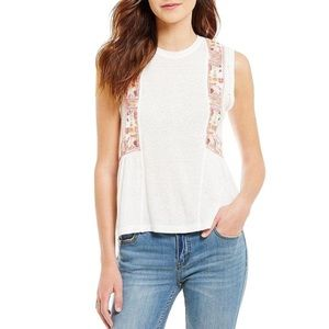 Free People white Marcy embroidered peplum tank